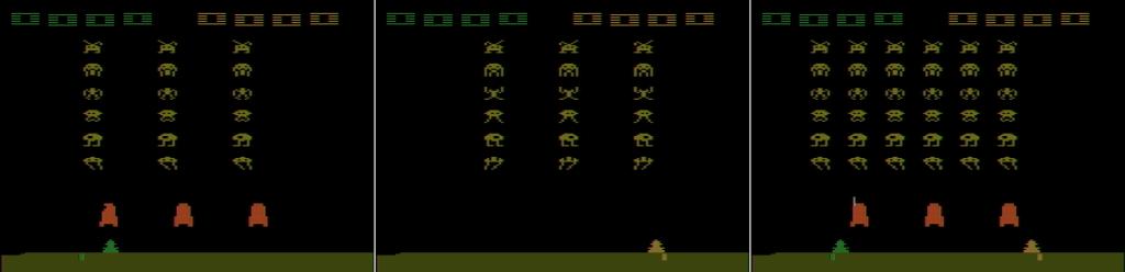 Clonando tres veces cada sprite obteníamos seis invasores por línea en Space Invaders, Atari (1980)
