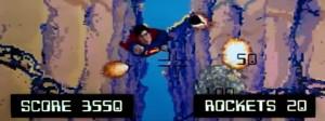 Animación de videojuego de Atari en Superman III.