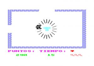 Pantalla final de la joya, El ladron del sol purpura, Amstrad CPC.