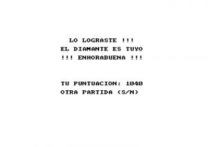 Pantalla final de El ladron del sol purpura, Amstrad CPC